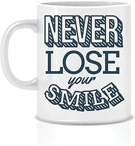 كوب أبيض مكتوب عليه Never Lost Your Smile