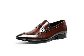 GDXH Mocasines para Hombre Brogues Zapatos clásicos de Estilo Formal Zapatos de Negocios Caballero Traje Zapatos Formales (Color : Rojo, tamaño : 37 EU): ...