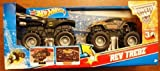 2012 HOT Wheels 1:43 Scale REV Tredz 2 Pack with Grave Diggers 30th Anniversary 4 Time Champion Chrome Grave Digger and Blue Avenger Monster Jam Trucks