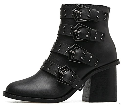 IDIFU Women's Fashion Studded Zip Up Round Toe High Chunky Heel Buckle Ankle Boots