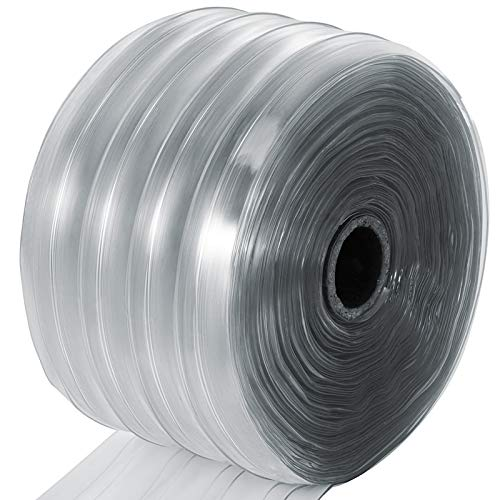 Mophorn Plastic Curtain Strips 150 Feet Length X 8 Inches Width 1 Roll Ribbed PVC Door Curtain 0.06 Inch Thickness Clear Anti Scratch Curtain Strip for Freezer Doors Warehouse Doors ()