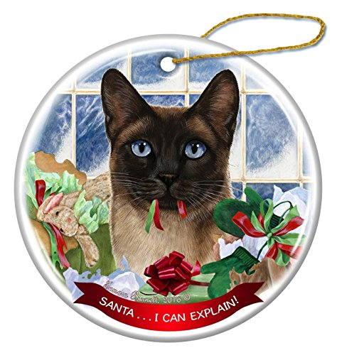 (Siamese Cat Porcelain Hanging Ornament Pet Gift 'Santa.. I Can Explain!' for Christmas Tree and Year Round)