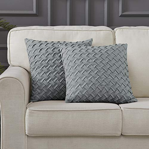 """Longhui bedding Light Grey Square Throw Pillow Cover, Set of 2, Gray 18"""" x 18"""" Decorative Lattice Pattern Sham Pillowcase for 18 inch Sofa, Couch, Bed Pillows"""