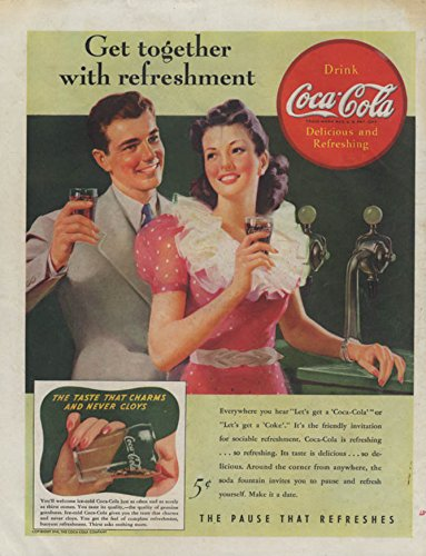 Get together with refreshment Coca-Cola ad 1941 soda fountain from The Jumping Frog