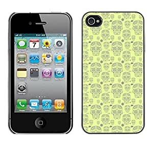iKiki-Tech Estuche rígido para Apple iPhone 4 4S - Cute Skull