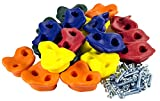 20 Deluxe Large Assorted Rock Climbing Holds with Installation Hardware- Swing Set Accessories