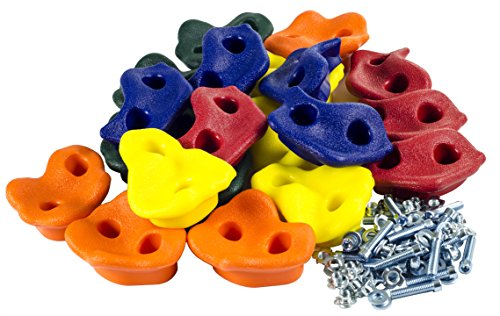 20 Deluxe Extra Large Assorted Rock Climbing Holds with Installation Hardware for up to 1″ Installation – Swing Set Accessories – DiZiSports Store