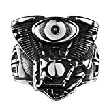 Focus Jewel Biker Ring Motorcycle Engine Race Rider Mechanic Punk Rocker Alien Evil Eye Gun Band US 8-11