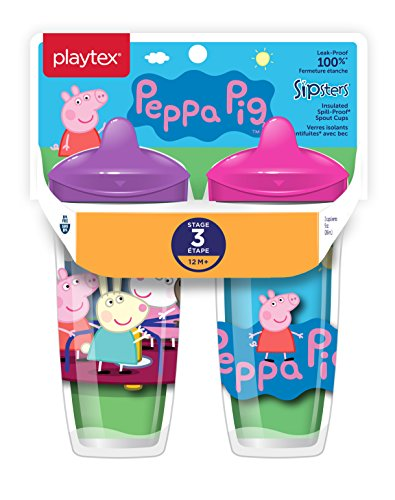 Playtex Sipsters Stage 3 Peppa Pig Spill-Proof, Leak-Proof, Break-Proof Insulated Toddler Spout Cups for Girls - 9 Ounce - 2 Count]()