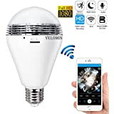 1080P WiFi Light Bulb Camera,HD Wireless IP Camera Home Security System Night Vision Dual Control VR Panoramic 360 Degree Fisheye,Motion Detection with Two-way Audio for Android IOS APP Remote View