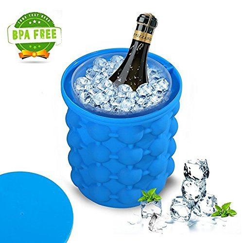 Evedy Ice Cube Maker Genie  Revolutionary Space Saving Ice Cup Maker Bucket Party Drink Tub Silicone Trays Mold Kitchen Tools For Chilling Burbon  Whiskey  Cocktail  Beverages And More