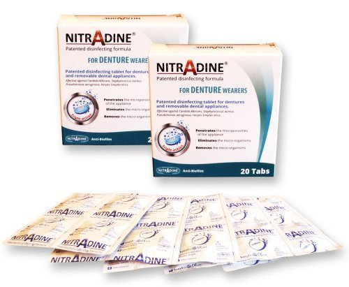 Nitradine 2 X Denture Seniors Tablets - 2 Boxes, 40 Tablets For Cleaning & Disinfecting 20 Weeks Supply