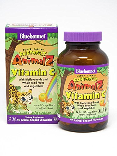 Bluebonnet Super Earth Rainforest Animalz Vitamin C Chews, Orange, 90 Count