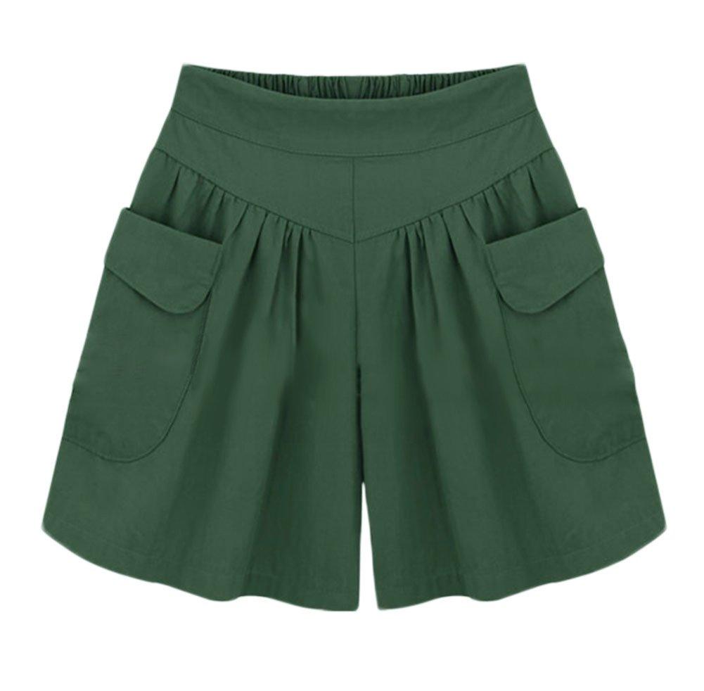 AvaCostume Women's Summer Comfortable Culottes Elastic Waist Wide Leg Pocket Casual Shorts Green2 XXL