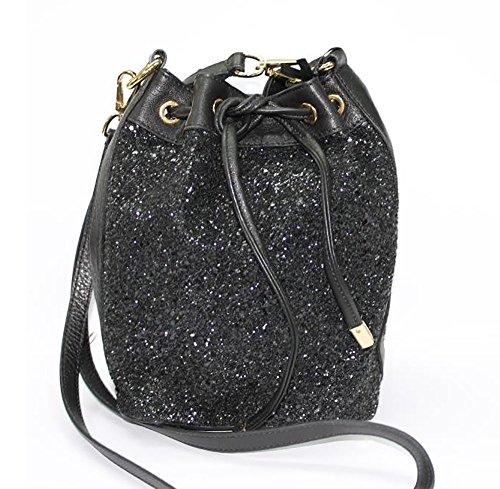 Borsa donna Collezione Argento Antico by Laino Industry fashion accessories - Borsa in pelle a sacchetto con glitter neri