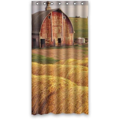 Hot Sale Farm Life Hay Bales Waterproof Bathroom Fabric Shower CurtainBathroom Decor 36