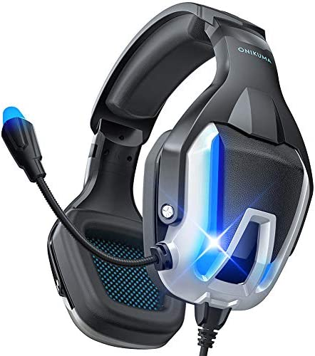 ONIKUMA Gaming Headset, Noise Canceling Gaming Headphone with Microphone and Surround Sound, LED Light, Compatible with PS4,PS5,PC,Mac, Laptops,Xbox One(Adapter Not Included)