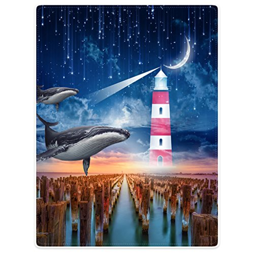 Blanket 50''x60'' Sofa Bed Throw Lightweight Plush Funny Dolphin Sky Lighthouse Meteor Moon Stakes by SXCHEN