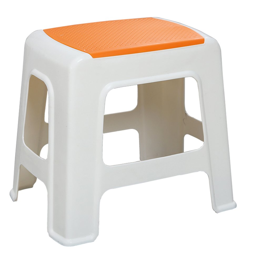 Stool - plastic stool/thickened adult shoes stool/children's stool/bathroom stool/stool/stool/table stool/home stool (four colors optional) (Color : Yellow, Size : C.312534.5cm)