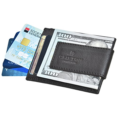 Money Clip Leather Wallets for Men - RFID Blocking Credit Card Holder Front Pocket Slim Minimalist with ID Window