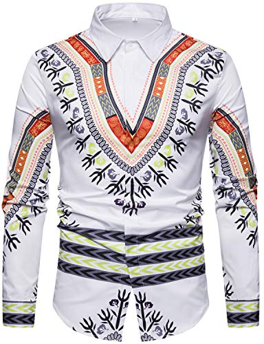 WHATLEES Mens Geek Design African Traditional Dashiki Long Sleeve Slim Fit Casual Button Down Shirts, T5508 White ()