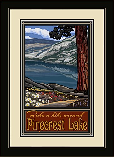 Northwest Art Mall PAL-5506 FGDM LKTG Pine Crest Lake California Trail Framed Wall Art by Artist Paul A. Lanquist, 16 x - Mall Pines Lakes