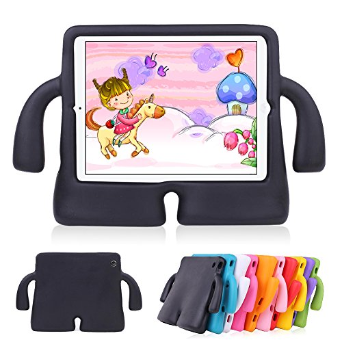 Lioeo iPad Air 2 Kids Case iPad Air Kids Case Cute 3D Cartoon Light Weight Shock Proof Protection Cases EVA Foam Protective Children Cases and Covers for Apple iPad 5 6 Generation New iPad 2017(Black) - Child Protective Ipad Case