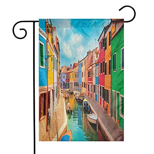 Portly Birds Garden Flag - Season Garden Flag Holiday Decoration Venice Colorful Buildings and Water Canal with Boats Burano Island in The Venetian Lagoon 12.5 x 18 Inch Multicolor