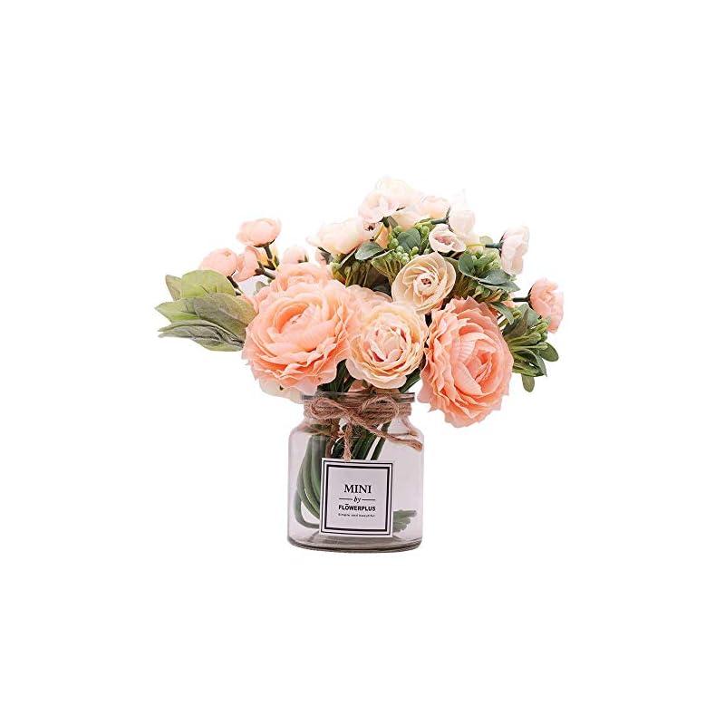 silk flower arrangements misbest artificial flowers with vase,camellia lulian bouquet faux flower arrangements for wedding home decoration decorations peach