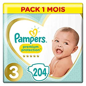 Couches Pampers Taille 3 (6-10 kg) - Premium Protection Couches, 204 couches, Pack 1 Mois 2