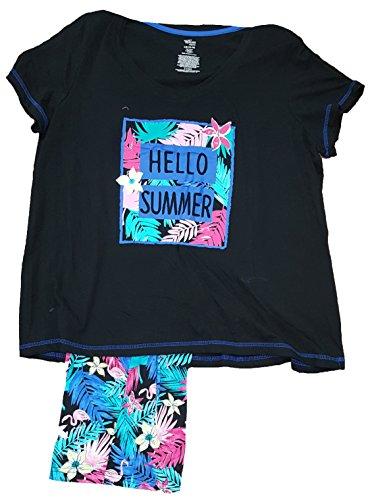 74eb0d0132 Secret Treasures Hello Summer Floral Black 2 Piece Knit Pajama Sleep Set -  2XL