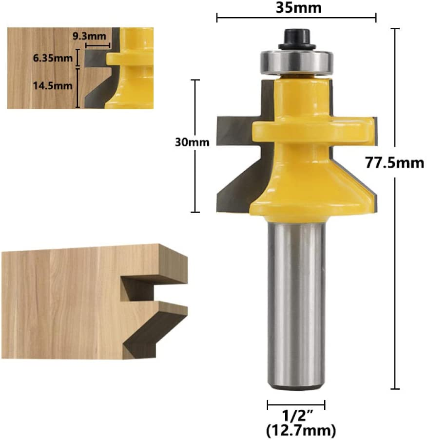 Milling Cutter Matched Tongue V Groove Floor Cutter with Bearings Joint Milling Bit Tenon Cutter 12.7mm Shank Wood Router Bit-2pcs_Set B