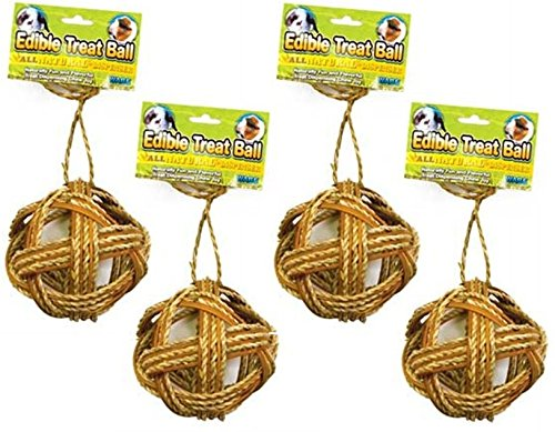 (Ware Manufacturing (4 Pack) Willow Edible Small Pet Ball Chew Treat, 4-Inch)