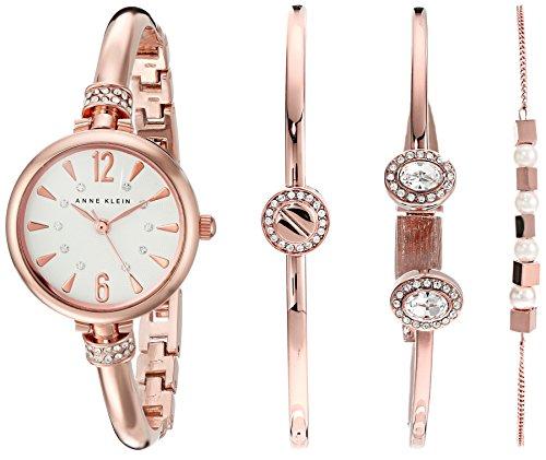 Anne Klein Women's AK/2338RGST Swarovski Crystal Accented Rose Gold-Tone Bangle Watch and Bracelet Set