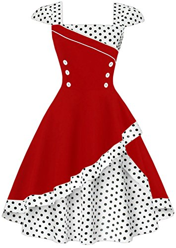 20s Costumes London - Dear-Queen ladies Evening Party Homecoming Cosplay Costume Polka Dots Garden Party Picnic Dres DQ1398RW-2XL