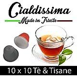 cialdissima 100 Capsule Compatibili Nespresso Tea Tè e Tisane in foglia naturale, assortite 10 tipi, Linea Premium