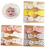 DANMY Baby Girl's Rabbit Ears Headband Cotton Cloth Elastic Hair Band Bow Soft Turban (Bow 9pcs (as Shown 2))