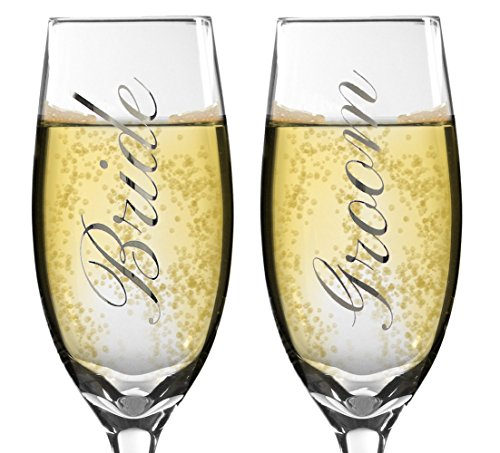 (Bride and Groom Champagne Glasses - Set of 2 Elegant Toasting Flutes - Silver Wedding Champagne Glass Set - Wedding Glasses)
