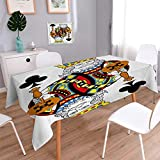 Anmaseven King Square Patterned Tablecloth King of Clubs Playing Gambling Poker Card Game Leisure Theme without Frame Artwork Dust-proof Oblong Tablecloth Multicolor Size: W50 x L50