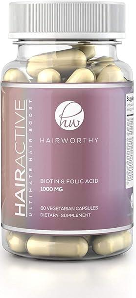 HAIRWORTHY – Crecimiento Natural del Pelo Vitaminas Veganas   Suplemento para Cabello más Largo, Fuerte y espeso   5000 mcg Biotina   Multivitamínico para cabello, piel y uñas (suministro para 1 mes):