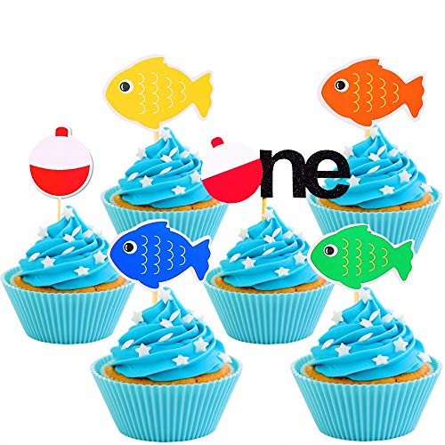 JeVenis Fishing Birthday Cake Topper Gone Fishing Cupcake Toppers The Big One Cake Topper for Fishing theme Birthday Party Supplies 30 PCS]()