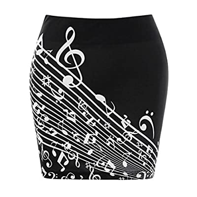 iYYVV Women Music Note Printed Mini Bodycon Hip Skirt High Waist Wrap Midi Skirt