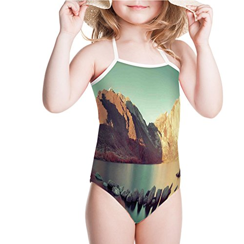(iPrint Girls' Swimsuit Convict Lake with Reflections in Yosemite Countryside for)