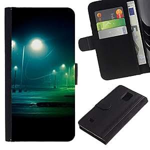 // PHONE CASE GIFT // Moda Estuche Funda de Cuero Billetera Tarjeta de crédito dinero bolsa Cubierta de proteccion Caso Samsung Galaxy Note 4 IV / Night Lot /