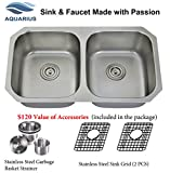 Extra Thick 16 Gauge Durable & Unbeatable Combo Package Deal Aquarius 32''x18''x9'' Double Bowl Undermount Stainless Steel Kitchen Sink 611SGS