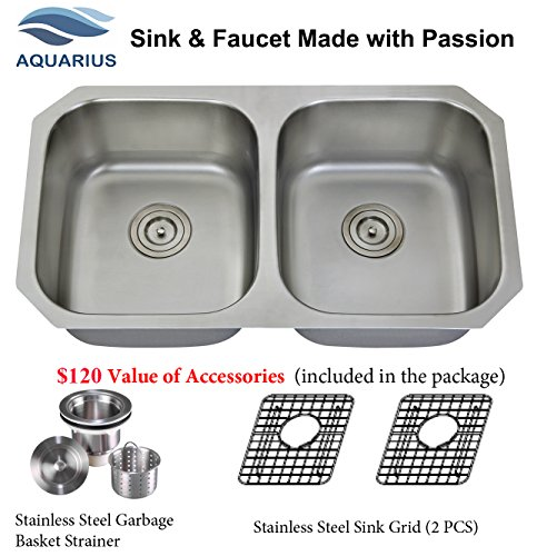 Extra Thick 16 Gauge Durable & Unbeatable Combo Package Deal Aquarius 32''x18''x9'' Double Bowl Undermount Stainless Steel Kitchen Sink 611SGS by Aquarius