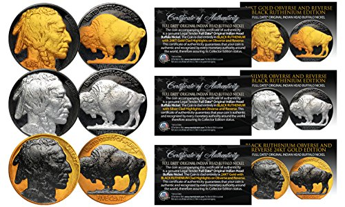 1930's Genuine Indian Head Buffalo Nickel *Full Dates* BLACK RUTHENIUM Set of 3 Date Buffalo