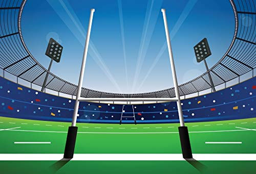 - Baocicco 10x8ft Cartoon American Football Playground Green Grassland Field Photography Backdrop Background Sports Club Sports Theme Rugby Match Boys Happy Birthday Theme Vinyl Photo Studio Props