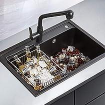CUKUY Double Bowl Black Kitchen Sink