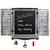 MyGift Country Rustic Brown Torched Wood Finish Wall Mounted Key Hook Rack & Chalkboard w/Shutter Style Doors